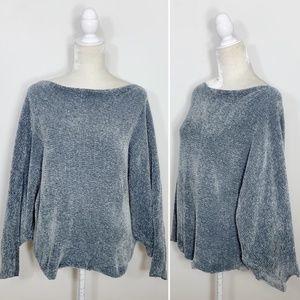 ZARA Blue Gray Chenille Boat Neck Dolman Sweater